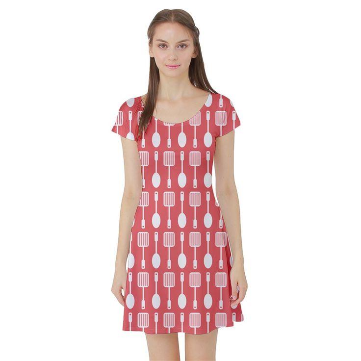 Coral+And+White+Kitchen+Utensils+Pattern+Short+Sleeve+Skater+Dresses