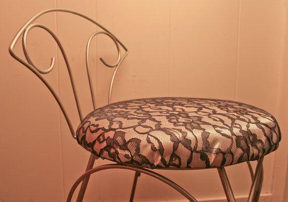 UPCYCLED Vintage Vanity Chair  Vanity Stool  by BrandosFunkyFinds, $70.00