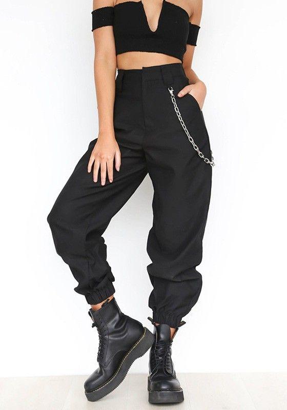 3f4d596ecb07b8 Black Plain Chain Zipper Pockets High Waisted Casual Long Pants ...