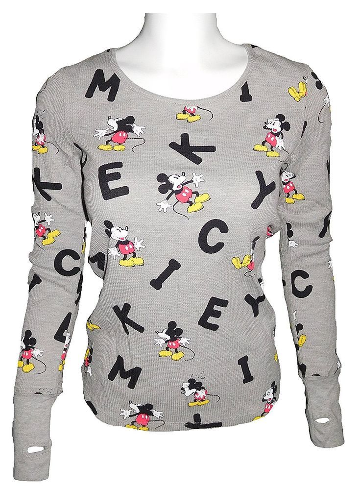 Girls Disney Mickey and Minnie Mouse All-Over Print Long Sleeve T-Shirt Gray