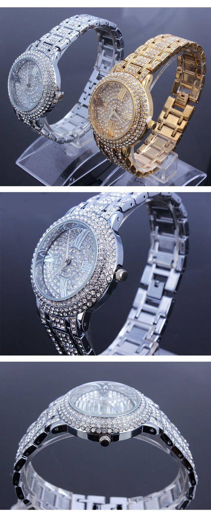 Moda reloj femenina 2014 de calidad de diamantes de cristal checo de lujo comercial señoras reloj en Relojes de Pulsera de Relojes en AliExpress.com | Alibaba Group