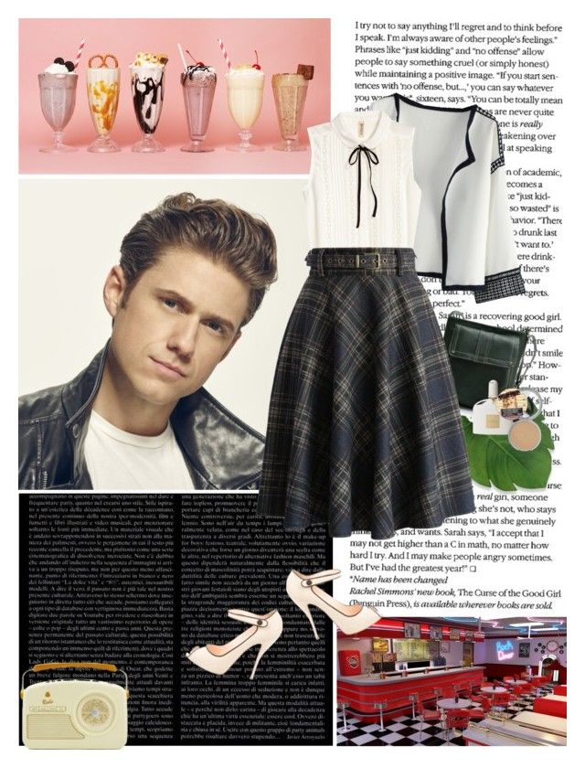 """Fictional Date: Sharing a milkshake with Danny Zuko"" by cassirin ❤ liked on Polyvore featuring art"