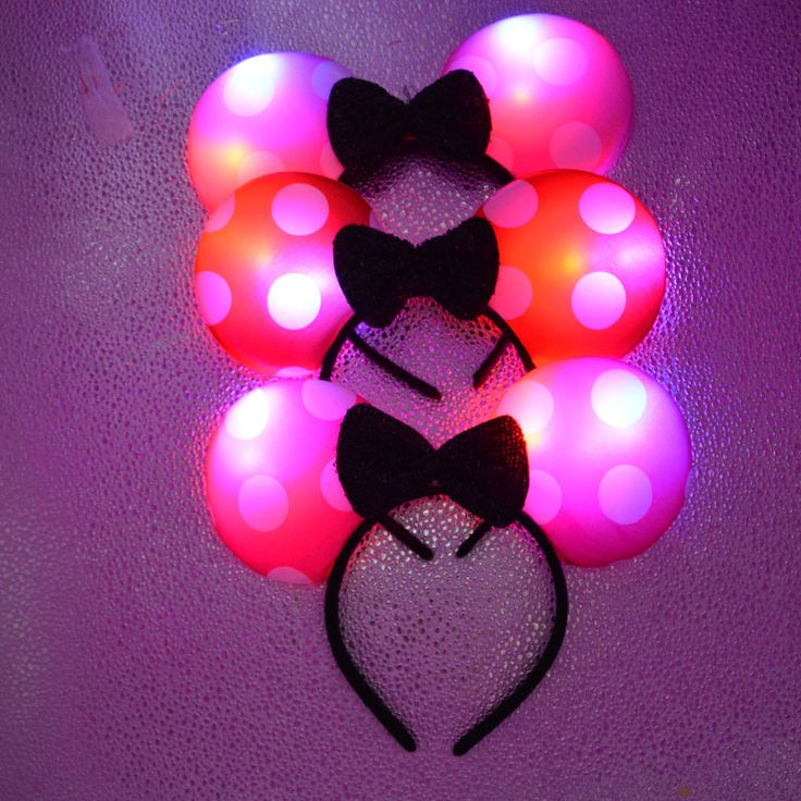 2017 New Woman Girl Minnie Light up Led Bows Headbands Girls Woman Flashing Hair Accessories Birthday Glow Party Supplies