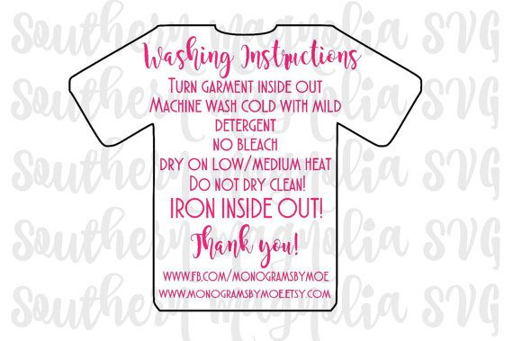Vinyl Apparel Care Card Instructions  Print by SouthernMagnoliaSVG