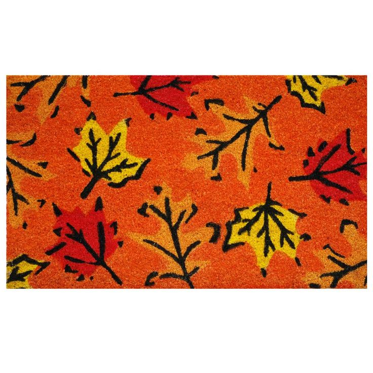 Fall Leaves 17 in. x 29 in. Coir Door Mat, Orange/Black