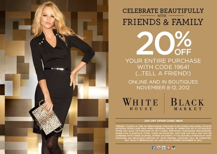 Does White House Black Market Offer New Customer Coupons? Yes, save 10% off your first order when you join the WHBM email list. Discount is mentioned on their site at the bottom of the page and discount arrives via email after you've joined their newsletter.