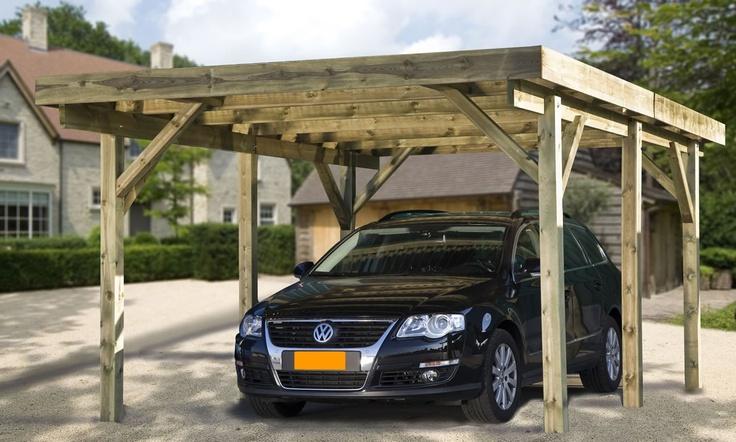 Vrijstaande carport met plat dak model Ecoline10 van