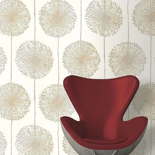 Cream / Silver / Gold - J04207 - Dandelion - Floral - Muriva Wallpaper by Muriva, http://www.amazon.co.uk/dp/B00DCZKHIU/ref=cm_sw_r_pi_dp_2rpatb1J5EJAK