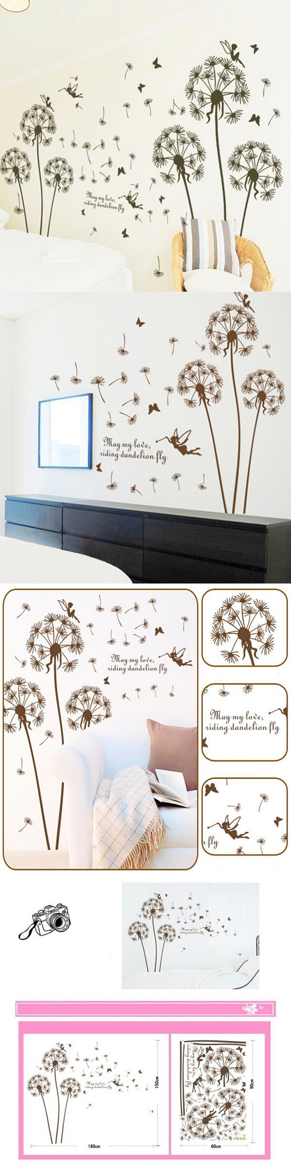 the 25 best dandelion wall decal ideas on pinterest dandelion flying dandelion wall decal diy room stickers cute fairy removable paper mural home decoration 19820