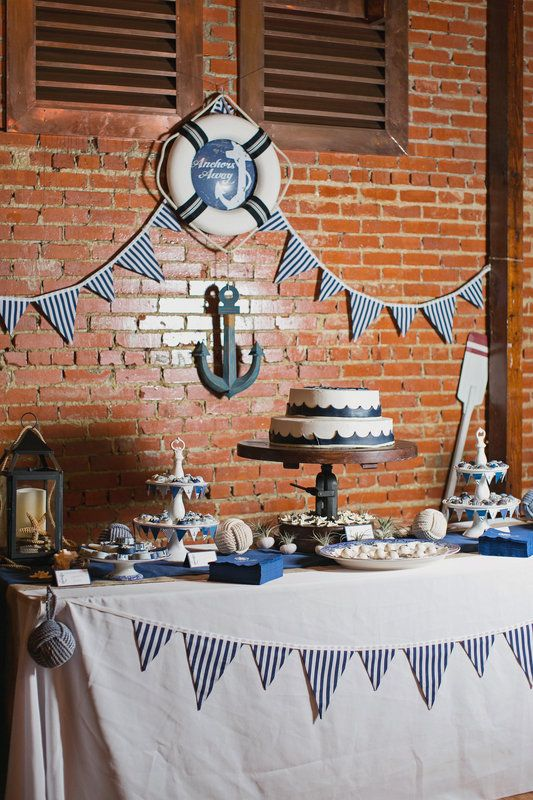 Nautical Wedding Cake Table Ideas. Find decorations and high-quality flowers at Afloral.com for your DIY wedding ideas. Pinned by afloral.com from http://kimbraliphoto.pass.us/cortez/i-KkM5J42251748