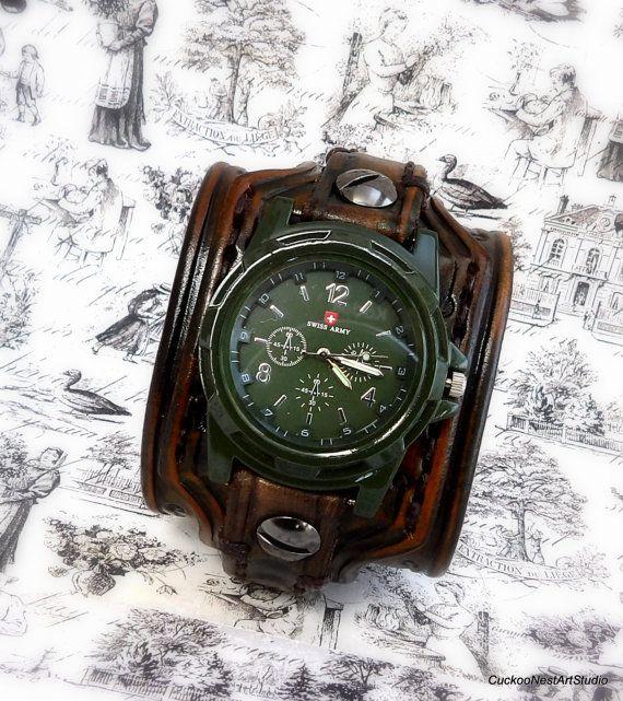 Men's Leather Cuff Watch Wrist Watch Watch by CuckooNestArtStudio, $109.00