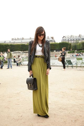 Structured add-ons in neutral colors help carry a summer staple - the maxi skirt - smoothly into fall.