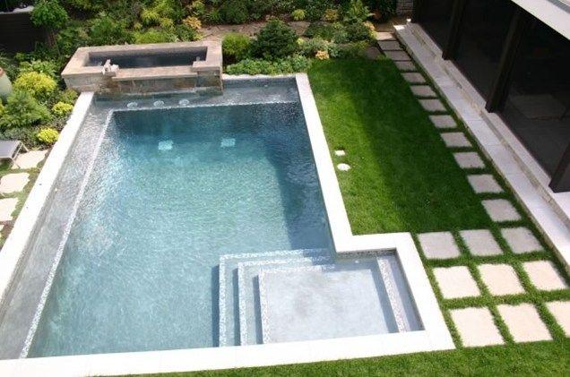 Raised Spa, Modern Pool Design Swimming Pool Phillips Garden ...