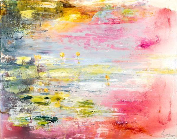 """Åsa Eriksson - """"Gula små solar"""" finns att köpa hos oss på Galleri Melefors / is available for purchase at Galleri Melefors #åsaeriksson #åsa #eriksson #art #konst #tillsalu #forsale #nature #flowers #pink #yellow #natur #blommor #rosor #inredning #oljemålning #målning #olja #tavla #dekoration #vår #rosa #gul #fantasi #monet #gallerimelefors #melefors"""
