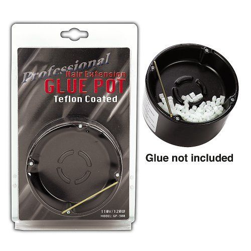 Professional Hair Extension Glue Pot by Sally. $29.99. Large pot allows for ample supply of melted glue with no mess. Heats quickly. Melts glue pebbles evenly and quickly. Professional Hair Extension Glue Pot is used to melt KeraProtein Glue Pebbles used in the Fusion Hair Extension techniques.