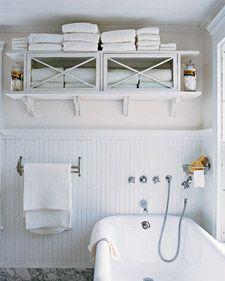 Great storage bathroom., over commode: Cabinets, Small Bathroom, Bathroom Towels, Bathroom Storage, Shelves, Storage Idea, Towels Storage, Fleas Marketing, Linens Closet