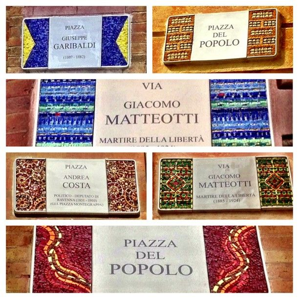 The mosaic street signs of Ravenna - Instagram by @Suzanne, with a Z Courtney @Suzanne @TheTravelBunny