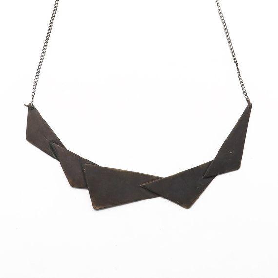 Black Polygon 5 Necklace // Dark Geometric by ALKISTIjewelry