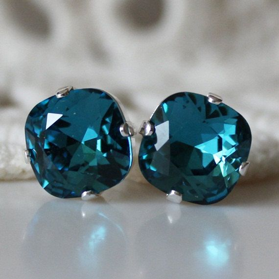 Teal Earrings... Swarovski Crystal... Cushion Cut Square... Stud Earrings... Silver... Indicolite, Teal, Jade