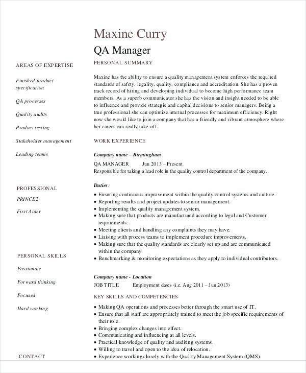 Quality Assurance Resume Resume Template Professional Resume Best Free Resume Templates
