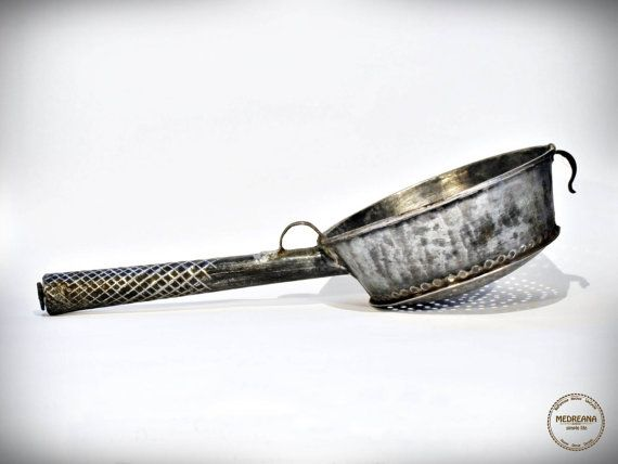 Antique French Galvanised Tin Colander / by VintageMedreana, $44.00