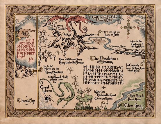 Lonely Mountain Map | Tolkien, J.R.R.: The Hobbit: There and Back Again (1937 ...