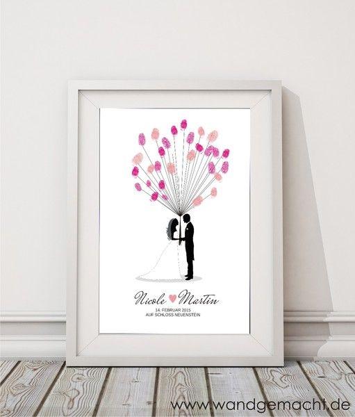 """wedding+tree+""""Brautpaar""""+A3+inkl.+Stempelkissen+von+wandgemacht+auf+DaWanda.com"""