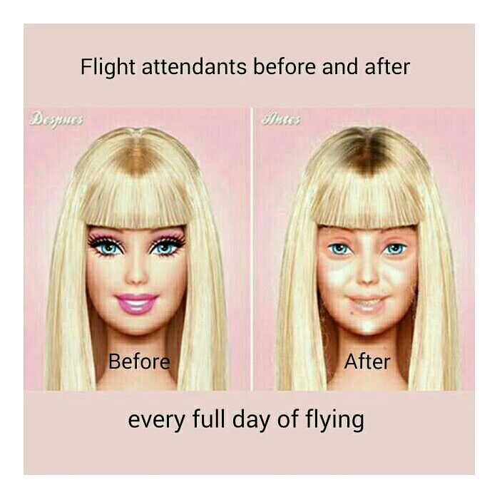 Flight attendants before and after a day of flying... hahaha soooooooooo true