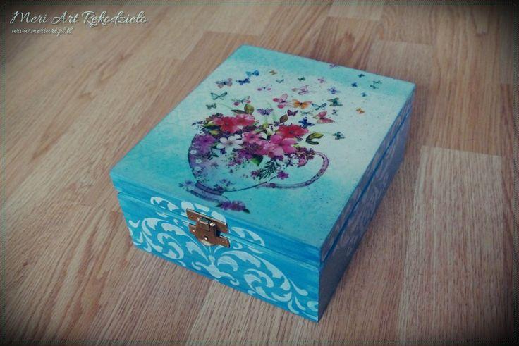 Blue, wooden box for tea #handmade www.meriart.pl.tl; pic. 1