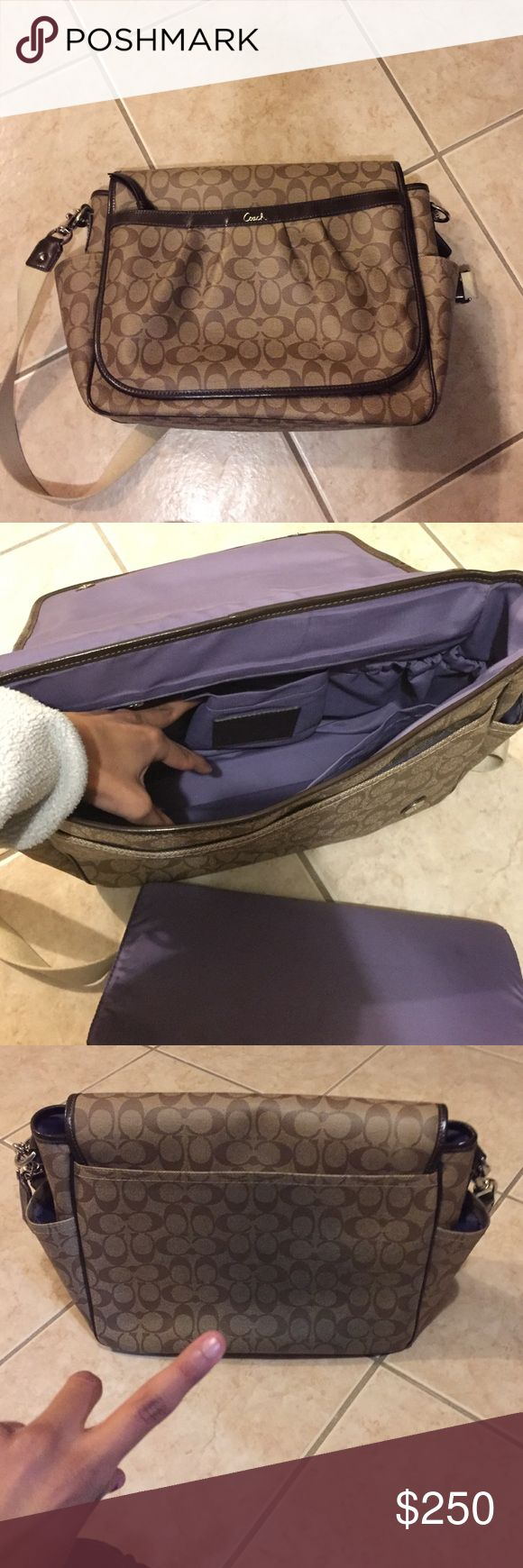 """coach messenger bag used. in great condition. has denim """"stain"""" on back where i am pointing with finger on third picture. has two scuffs on bottom. Coach Bags"""