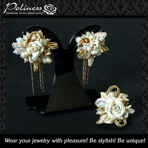 Wedding jewelry  Wedding clips  Clips in by PolinessJewelry