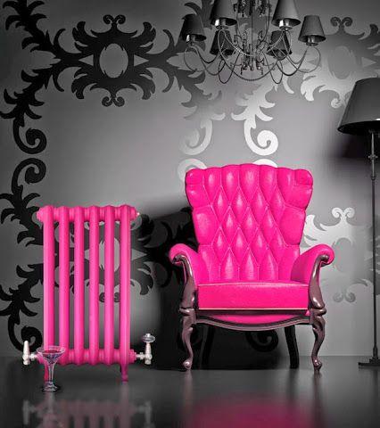 Radiador de hierro fundido en color Rosa, destaca aunque no quiera. JrSink Fontanería Valencia