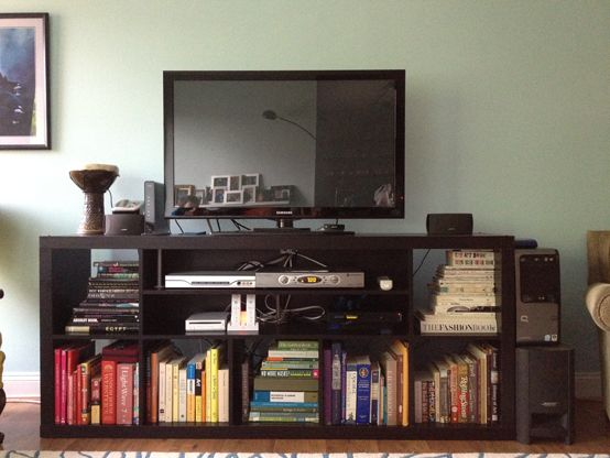 Living Room Expedit TV Stand. Lovely Arrangement Of Books By Colour