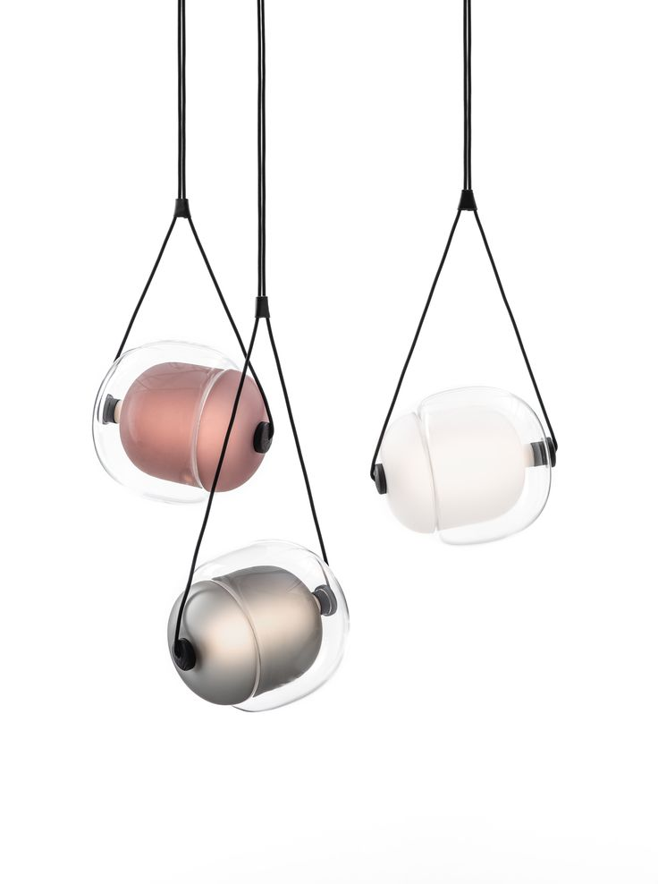 White Interior - Brokis lights - Smoke grey, amber, violet, dark smoke grey, yellow, transparent glass and opaline Capsula. Design by Lucie Koldova.