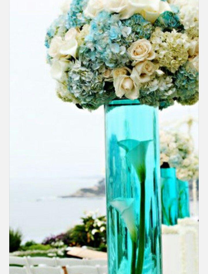 Decaracion para boda azul y blanco