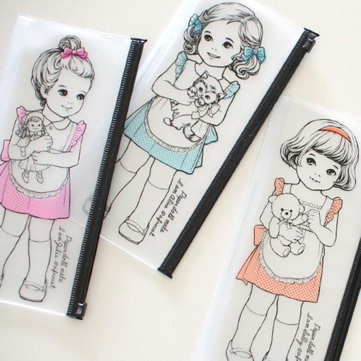 Little Lovely Girls Holding Dolls Korean Pencil Case for Girls  #Little #Lovely #Girls #Holding #Dolls #Korean #Pencil #Case #girls
