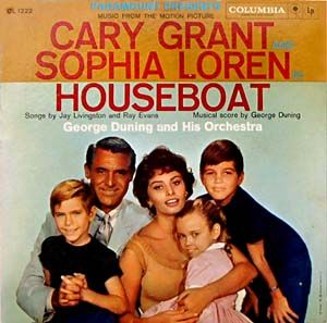 Houseboat - soundtrack (photo only) - 1958. I wish I had kept this LP - we got it when the movie came out. Sophia played Cinzia Zaccardi,  Cary was Tom Winters - his kids, Paul Peterson played David Winters (far right) - the cute little girl (Elizabeth Winters) was played by Mimi Gibson, while the other brother (Robert Winters) was played by 	Charles Herbert.
