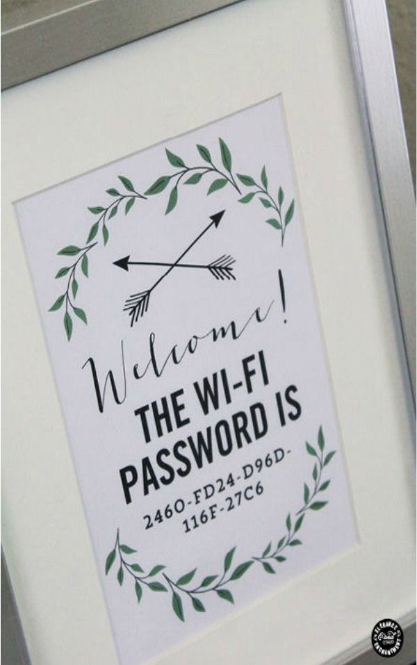 Make guests feel welcome with this well-thought framed wi-fi password on their nightstand