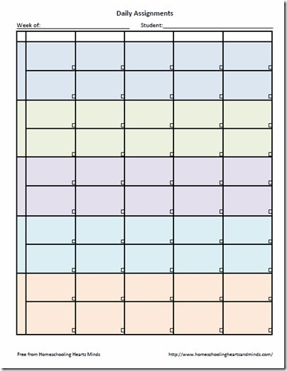 weekly homework sheet template