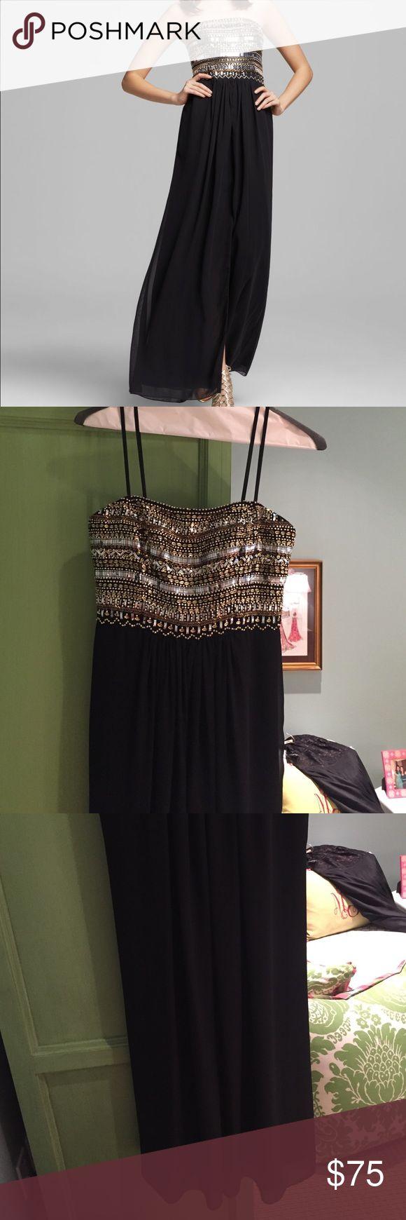 Aidan Mattox Beaded Black Chiffon Strapless Gown Aidan Mattox Beaded Chiffon Gown / WORN ONCE Aidan Mattox Dresses