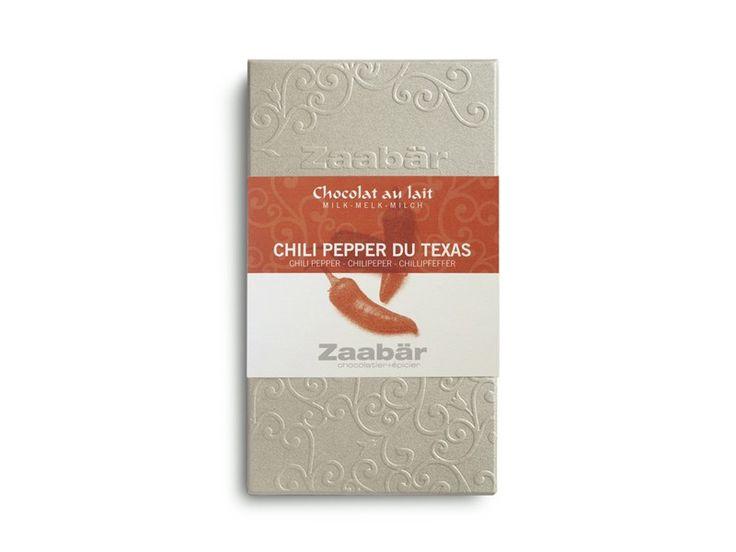 Chocolat au lait artisanal belge au chili pepper du Texas.