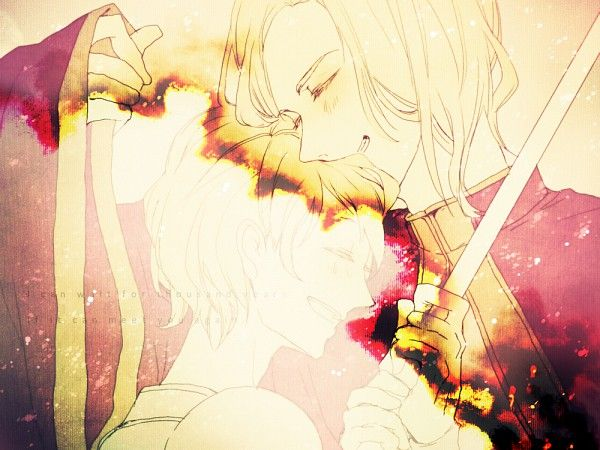 """Hetalia- France and Joan of Arc. It says """"I can wait a thousand years if it means I can meet you again."""""""