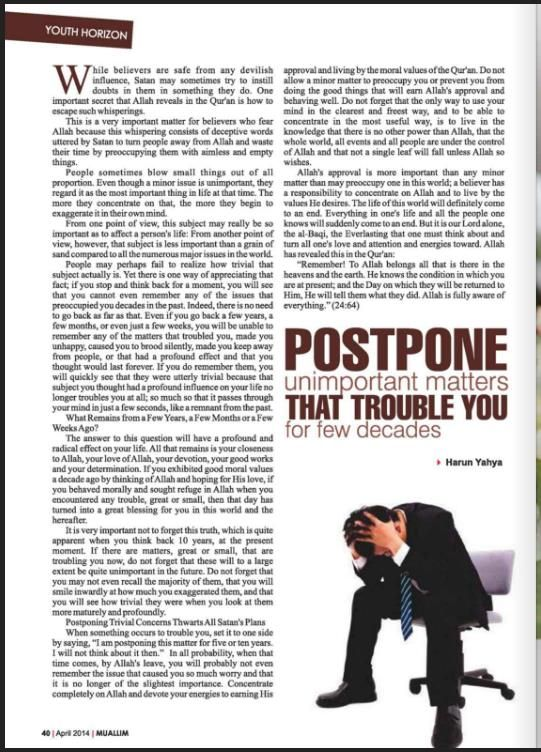 """Postpone Unimportant Matters That Trouble You""""For a Few Decades"""""""