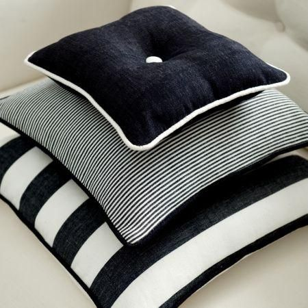 Clarke and Clarke -  Riviera Fabric Collection - Black and white striped cushions on white upholstery