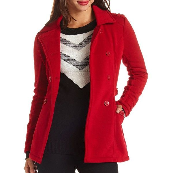 Charlotte Russe Double Breasted Fleece Pea Coat ($20) ❤ liked on Polyvore featuring outerwear, coats, dark red, fleece peacoat, red double breasted coat, red pea coat, pea coat and red sash belt