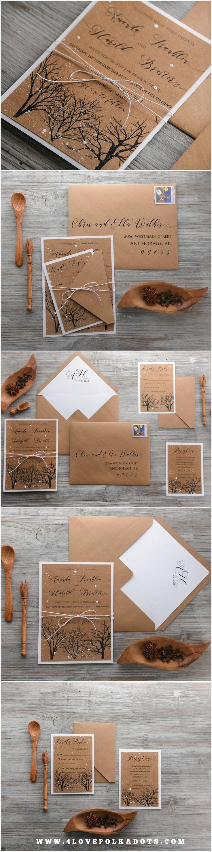 We just love this beautiful winter wedding invitation suite by @4lovepolkadots made with eco kraft paper #rustic #winter #weddinginvitations #handmade #snow