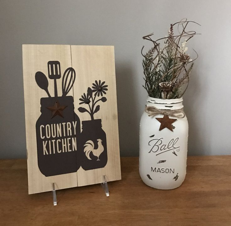 Country Kitchen Mason Jar Sign Rooster Whisk Wire Basket Rustic Farmhouse Kitchen Decor Rusty Star Country Decor Daisy Painted Mason Jar by PetalsAndPallets on Etsy https://www.etsy.com/listing/513947935/country-kitchen-mason-jar-sign-rooster