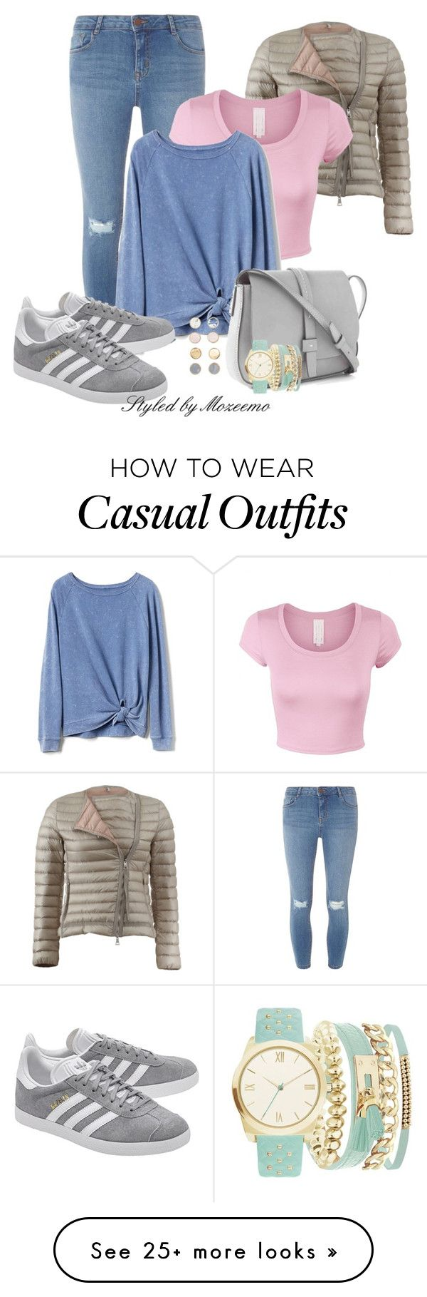 """""""Casual Jeans Outfit"""" by mozeemo on Polyvore featuring Dorothy Perkins, Moncler, Gap, adidas Originals and A.X.N.Y."""