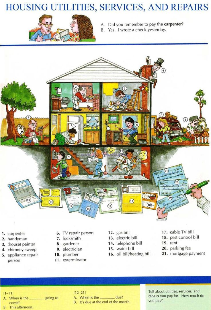 23 - HOUSING UTILITIES, SERVICE AND REPAIRS - Pictures dictionary - English Study, explanations, free exercises, speaking, listening, grammar lessons, reading, writing, vocabulary, dictionary and teaching materials