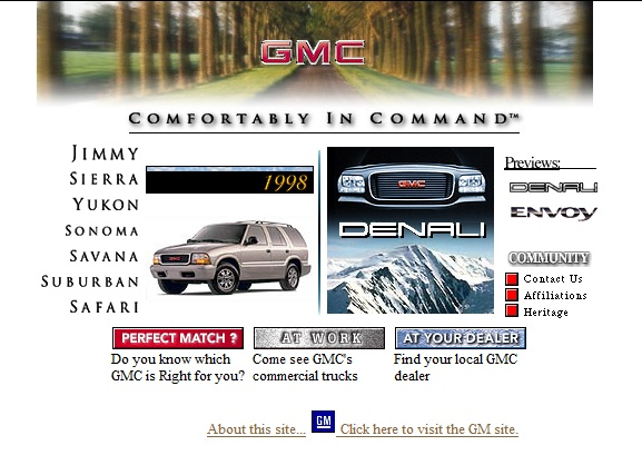 the old GMC website....